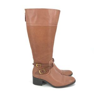 Franco Sarto Lapis Wide Calf Leather Boots Brown